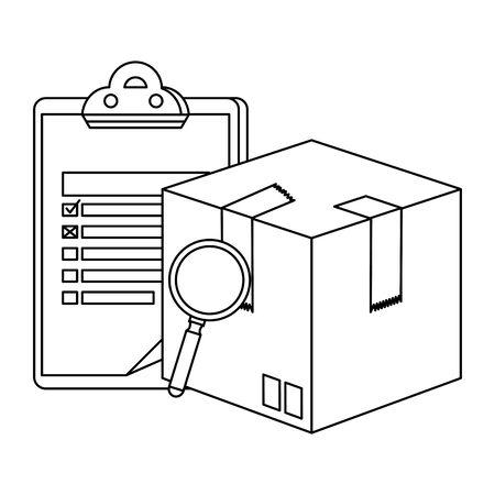 box carton with magnifying and checklist delivery service vector illustration design Illusztráció