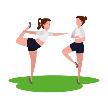 beauty girls couple practicing pilates in grass vector illustration design Ilustracja