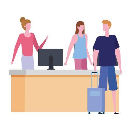 women working in desk with computer vector illustration design