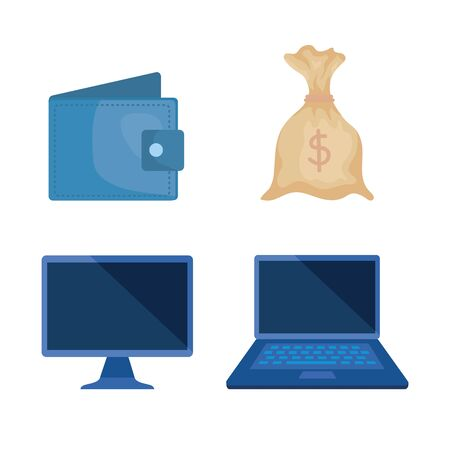 set of wallet with bag money and computer and laptop over white background, vector illustration