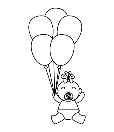 cute little baby girl with balloons helium vector illustration design Stock Illustratie
