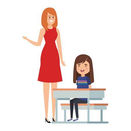 student girl in school desk with female teacher vector illustration design