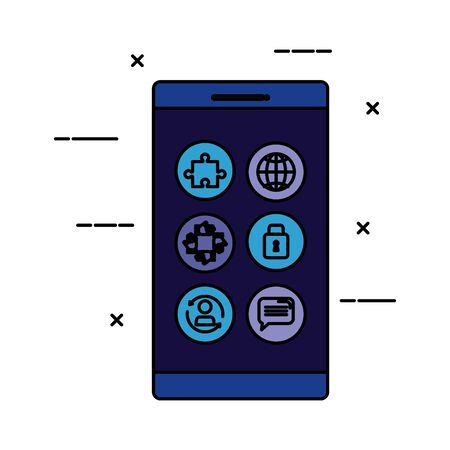 smartphone device with social media icons vector illustration design Illustration