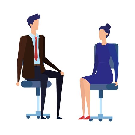 elegant business couple workers in office chairs vector illustration design 일러스트