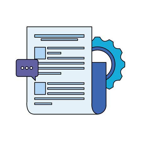 gear machine settings with document file vector illustration design Illusztráció