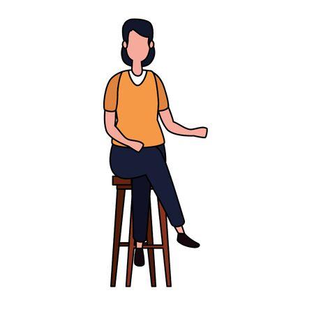 elegant businesswoman seated in bench vector illustration design Stockfoto - 134903301