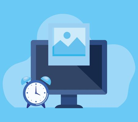 computer technology with alarm clock and photo over blue background, vector illustration