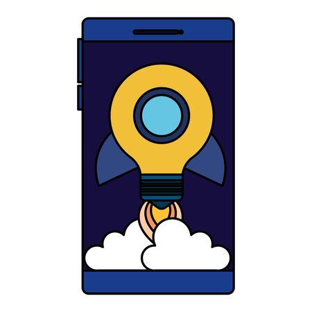 smartphone with rocket bulb launcher vector illustration design Illustration