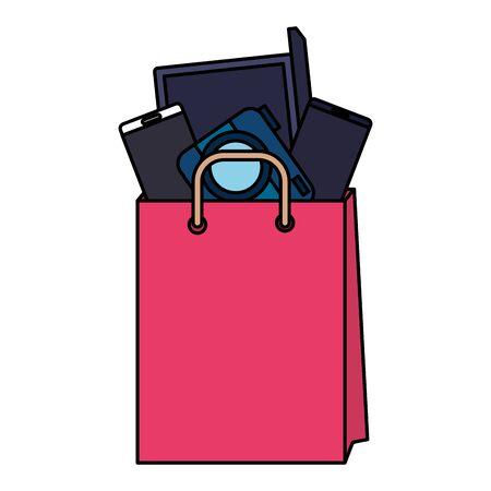 shopping bag with electronic devices vector illustration design Ilustração