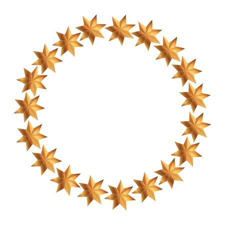 frame circular of stars decoration christmas isolated icon vector illustration design