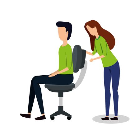 business couple seated in office chair vector illustration design 일러스트