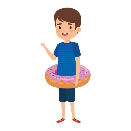 cute little boy with shirt and donut float vector illustration design