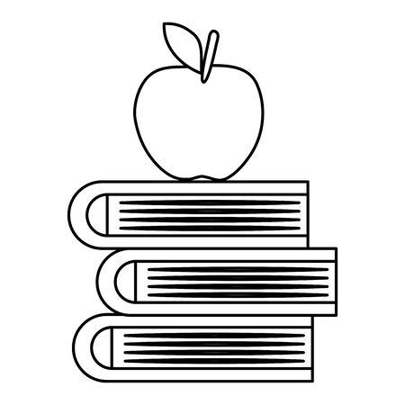 pile textbooks with apple fresh fruit vector illustration design