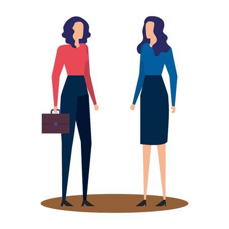 elegant young businesswomen avatars characters vector illustration design