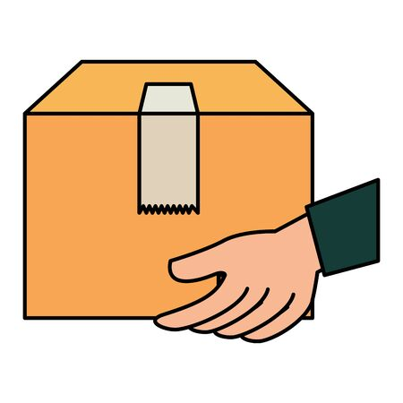 hands lifting box carton packing delivery service vector illustration design
