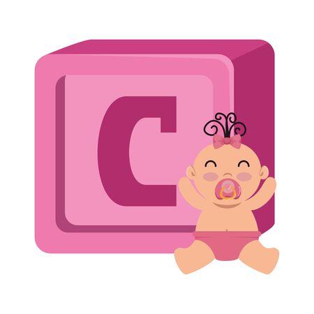 alphabet block toy with baby girl vector illustration design Stock Illustratie