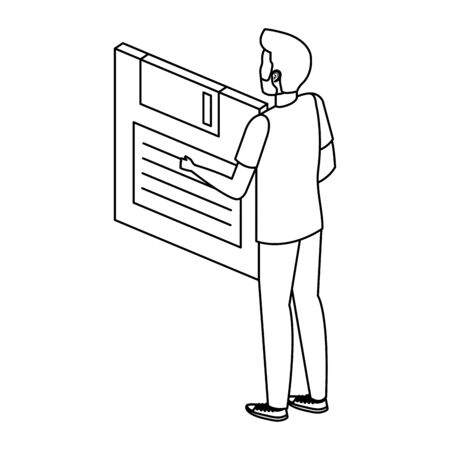 young man lifting floppy disk data storage vector illustration design Illustration