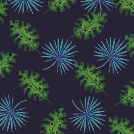 nature leaves with tropical plants background vector illustration Illustration