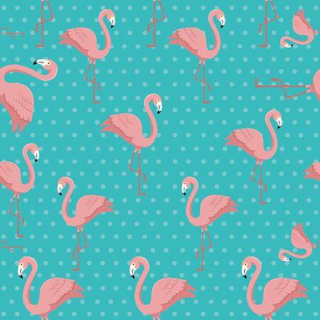 background of flamingos pink animals exotic vector illustration design Illustration