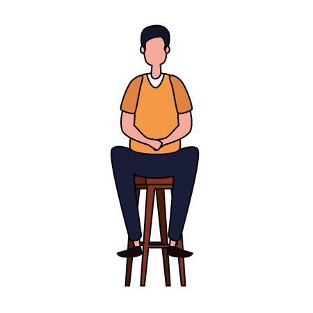 elegant businessman worker seated in bench vector illustration design