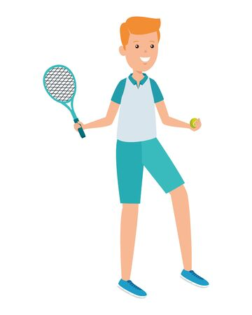 happy athletic boy with racket practicing tennis vector illustration design Ilustração