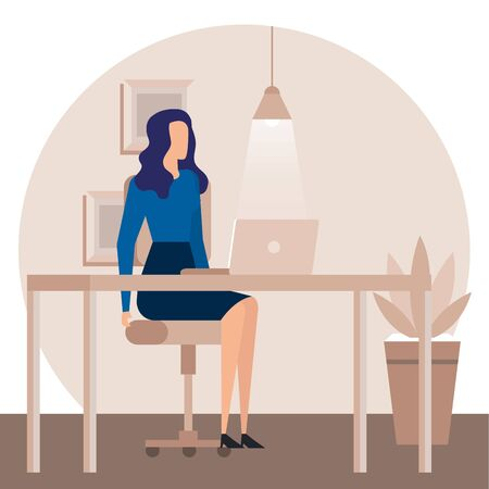elegant businesswoman worker in the office vector illustration design Illustration
