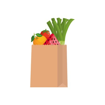 Fruits and vegetables inside shop bag design, Store market shopping commerce retail buy and paying theme Vector illustration