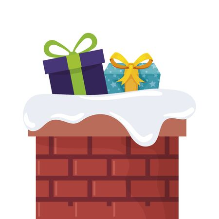 gift boxes in chimney isolated icon vector illustration design Reklamní fotografie - 134910672