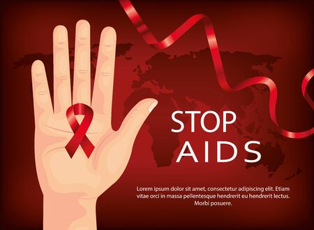 poster of stop aids day with hand and ribbon vector illustration design
