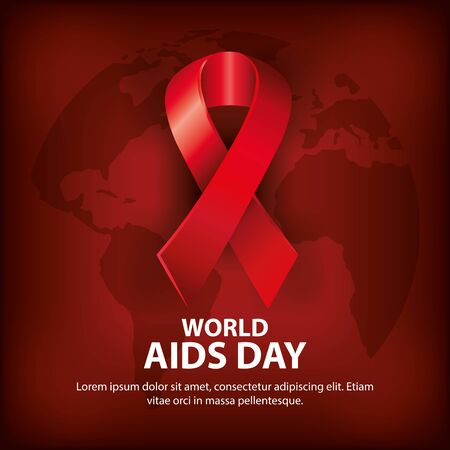 poster of world aids day with ribbon vector illustration design Ilustração