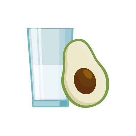 Milk glass and avocado design, Liquid drink beverage breakfast fresh natural dairy and healthy theme Vector illustration Illusztráció