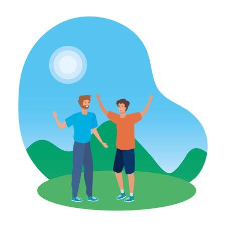 happy young men friends celebrating in the park vector illustration design