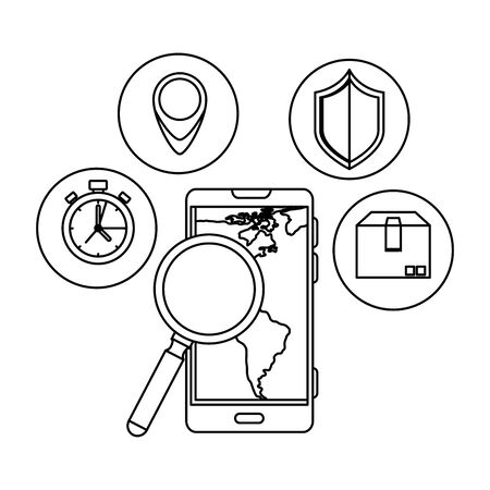 smartphone with magnifying and delivery icons vector illustration design