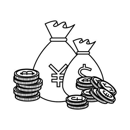 sack of yen coins vector illustration design 일러스트