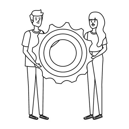 young couple lifting gear machine settings vector illustration design