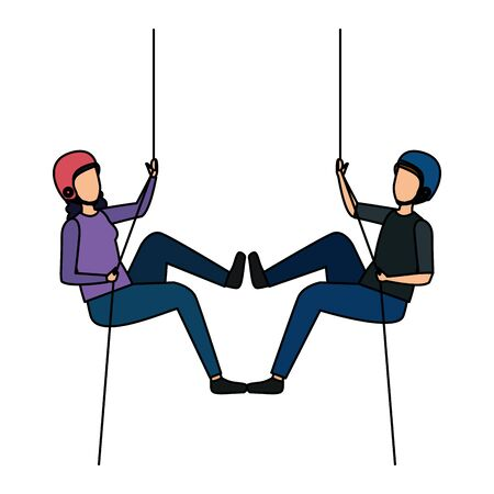 young couple climbing with ropes characters vector illustration design  イラスト・ベクター素材