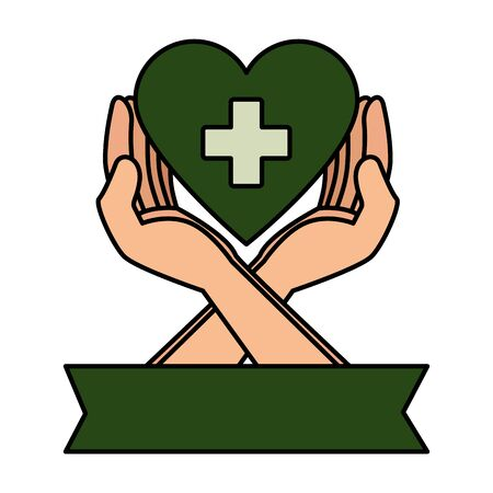 hands protecting medical heart with cross vector illustration design 일러스트