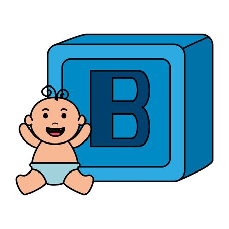 alphabet block toy with baby boy vector illustration design