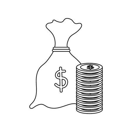 money bag with coins economy icons vector illustration design Reklamní fotografie - 134925806