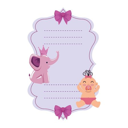 baby shower card with little newborn vector illustration design Illustration
