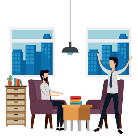 elegant businessmen workers in the office vector illustration design