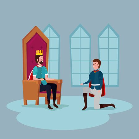 king with prince in castle indoor vector illustration design