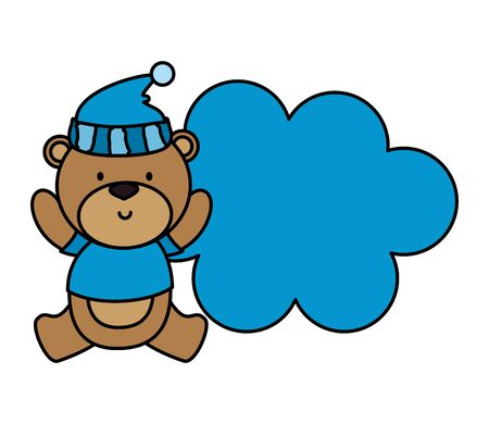 little bear teddy with hat vector illustration design
