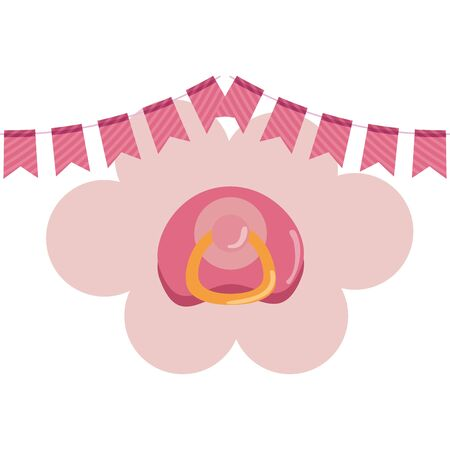 baby shower card with pacifier vector illustration design Stok Fotoğraf - 134927943
