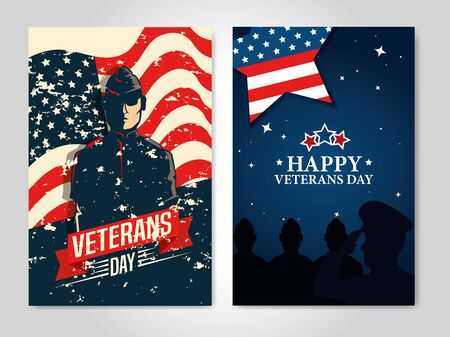set of poster veterans day with decoration vector illustration design