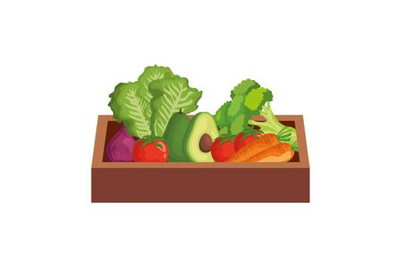 healthy vegetable in wooden box isolated icon vector illustration design Vecteurs
