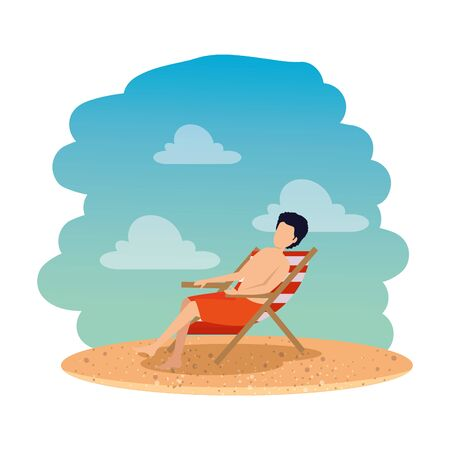 young man with swimsuit seated in chair on the beach vector illustration design Stock Illustratie