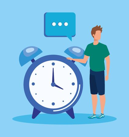 man with clock and chat bubble media data over blue background, vector illustration