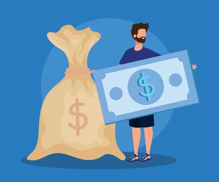 businessman with bill and bag cash money currency over blue background, vector illustration