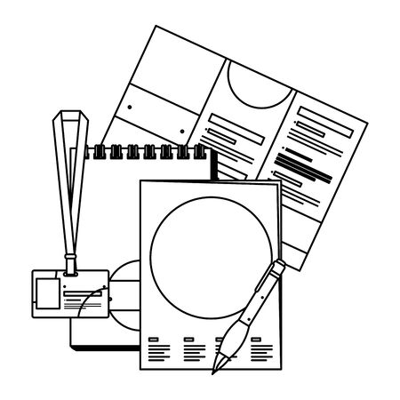 notepad and marketing items with company emblem print vector illustration design